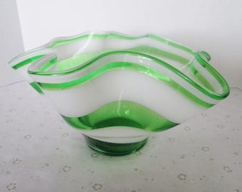 Beautiful Vintage Art Glass Bowl with Alternating Green and White Swirls; Old Green and White Striped Glass Bowl with Waved Scalloped Edges