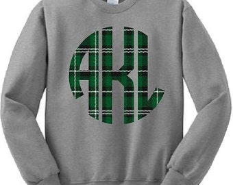 Monograms, Plaid, Sweatshirts, School Spirit, Custom, Green, Hoodies, Shirts,