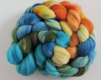 merino nylon,Pazific Blues, superwash sock blend, top, handpainted fiber for spinning,ca.3,5oz