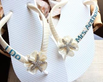 MRS Last Name Bridal flip flops, I DO Ivory Wedding flip flops, Wedding Sandals, Blue Off white Bridal Beach Wedding shoes, Bridal sandals