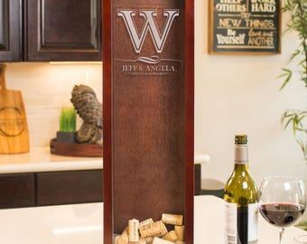 Initial Monogrammed Wine Cork Holder Shadow Box