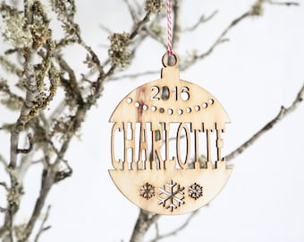 Personalised wooden christmas tree decoration - Name cut out - Custom made xmas ornament first christmas