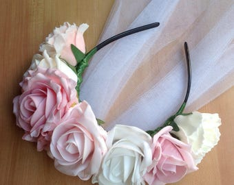 Floral hen do headband with veil made using foam flowers