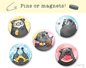 Summer Pugs - black pug pins or magnets - cute pug accessories, pug magnets, pug stuff, pug gift by Inkpug
