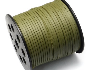 15ft Olive Green Faux Suede Cord Leather Like 3mm( No.617)