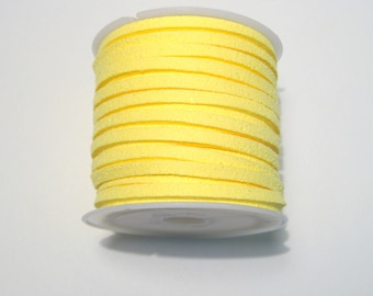 5 Meter/Roll Yellow Faux Suede Cord  3x1.5mm(No.37)