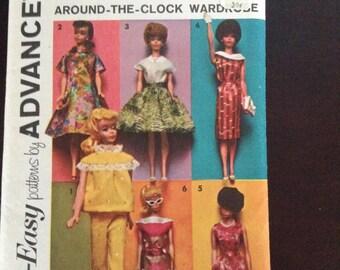 Vintage Advance  Barbie Doll clothes  pattern around the clock wardrobe Uncut