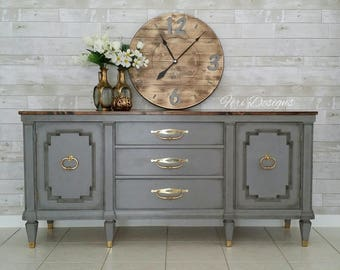 Gray Vintage, French Country Triple Credenza, SideBoard, TV Media Cabinet, Dresser