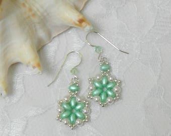 Swarovski Crystal earrings,Swarovski beaded earrings,SuperDuo earrings,Leverback,Clip on,Mint Green earrings
