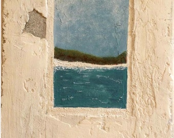 Window on the Bay - Original art mixed media   Handpainted faux plaster