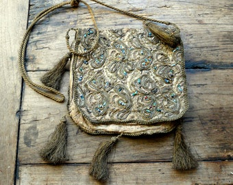 antique french bullion beaded purse metallic tassels
