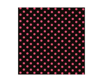 Small Hot Pink Dots on Black by Lecien (LEC4505-BKP) Cotton Fabric Yardage