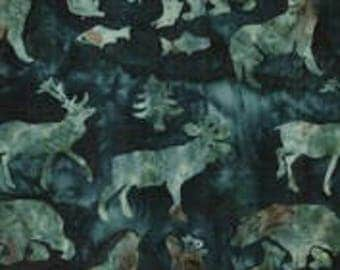 Hoffman Fabrics Teal Alaskan Animals C362-21-Teal Bali Batik Fabric by the Yard