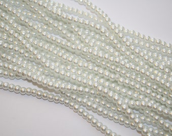 White Beads, White Glass Beads, Necklace Beads, - 1 Strand - D181