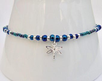 Czech glass and sterling silver anklet with dragonfly charm. Ankle chain. Ankle bracelet.