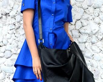 Black Messenger Bag, Genuine Leather Large Bag, Large Soft Natural Leather Messenger Bag TLB20, TEYXO Bag, Large Tote, Leather Tote