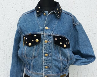 Vintage 80s Jeans Comboy Jacket with Jewelry Size Small
