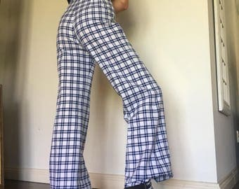 original 1970s high waisted blue check flared pants