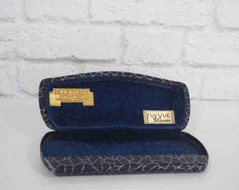 Vintage Metal Eye Glasses Case / Navy Blue and Silver Geometric Design / Ful-Vue Glasses Case