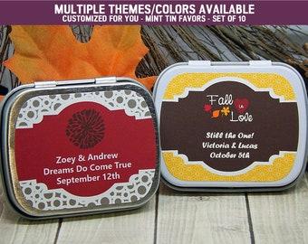 Fall Wedding Ideas - Fall Wedding - Fall Wedding Favors - Autumn Wedding - Autumn Wedding Favors - Mint Tins - Favor Tins - Set of 10