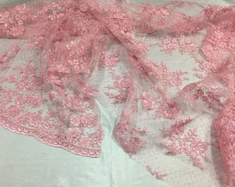 Sensational pink flowers Embroider On A Polkadot Mesh Lace-prom-nightgown-decorations-dresses-sold by the yard.