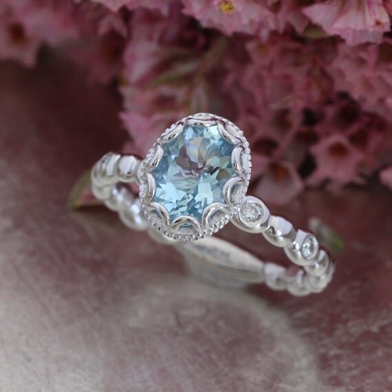 aquamarine wedding rings floral aquamarine engagement ring in 14k white gold pebble 1358