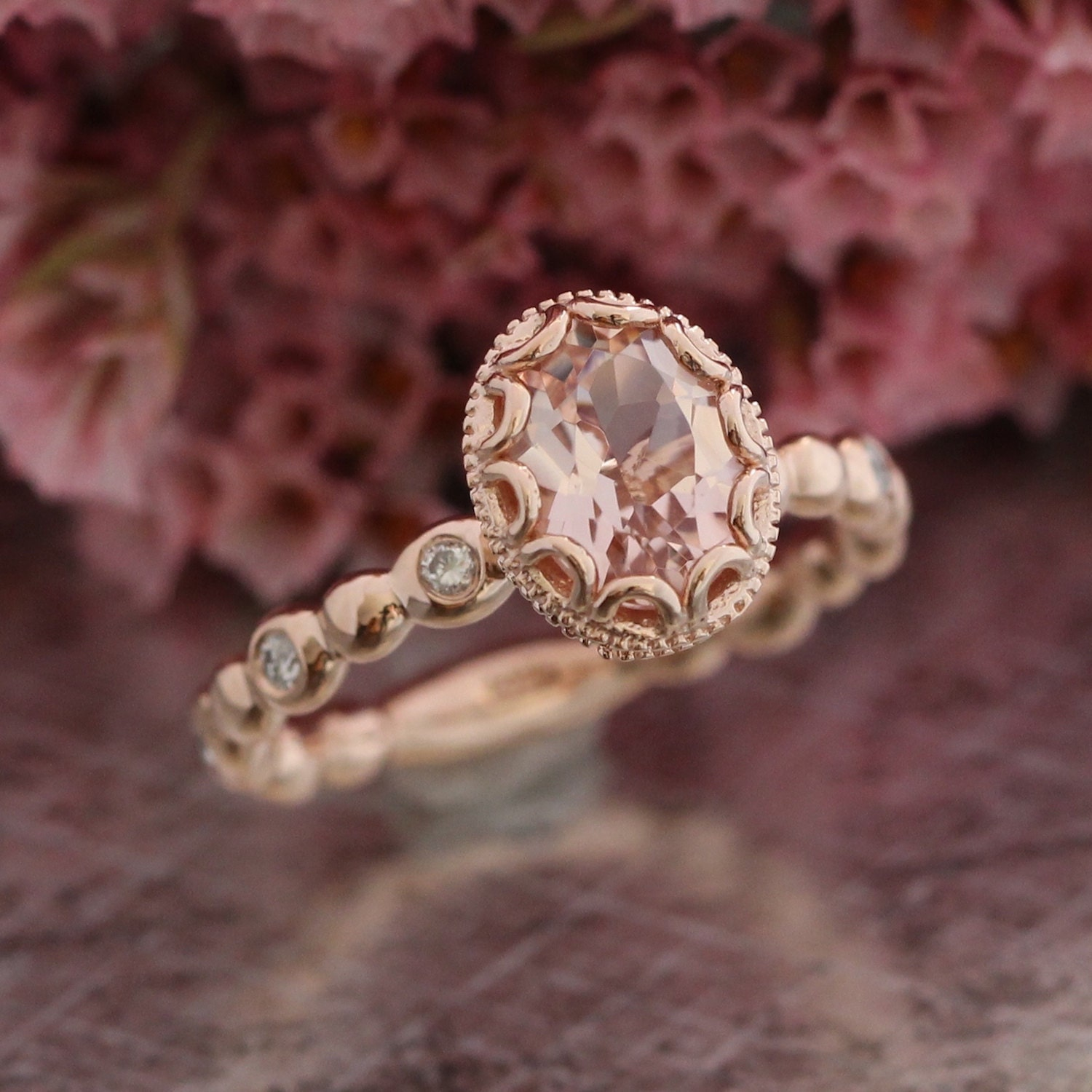 floral morganite engagement ring in 14k rose gold diamond