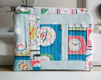 Handmade Cosmetic/Make-up Purse - Pouch - Zippered - Cath Kidston -Clocks - Patchwork - Gift