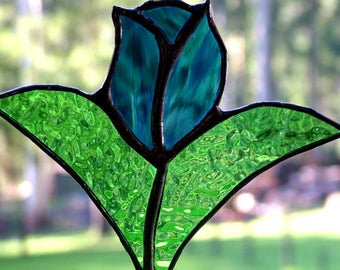 Tulip in Sky and Steel Blue Stained Glass, Suncatcher, Handmade in Australia