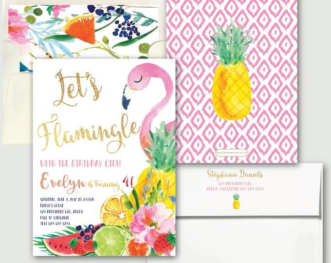 Tutti Fruity Birthday / Tutti Frutti Invitation // Let's Flamingle // Fruit // Tropical // Flamingo // Pink // Pineapple // ARUBA COLLECTION