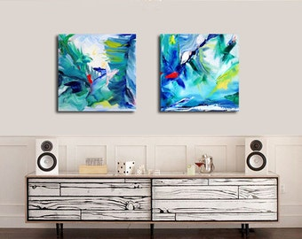 Original Abstract Painting Set of 2, Tropic colors, Oil Painting on Canvas Modern Abstract Expressionist Bold Wall Decor