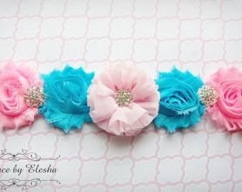 Maternity sash, Turquoise and Pink, Bridal sash, Pink Maternity, Turquoise Maternity Sash, Pink and Blue, Pregnancy sash, Maternity