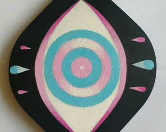 Pastel Eye Painting, hand painted on wood