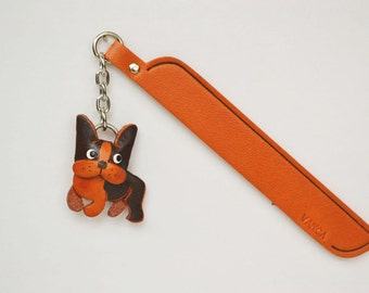 Boston terrirer Leather dog Charm Bookmark/Bookmarks/Bookmarker *VANCA* Made in Japan #61710 Free Shipping