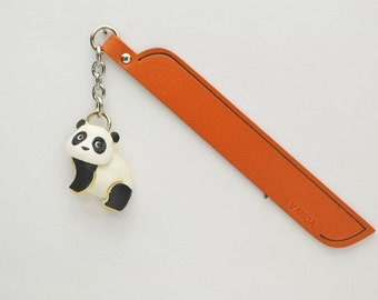 Panda Leather Charm Bookmark/Bookmarks/Bookmarker *VANCA* Made in Japan #61215 Free Shipping