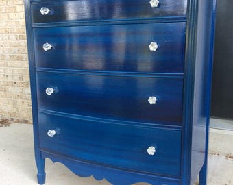 Glossy Indigo Chest of Drawers Dresser with Glass Knobs