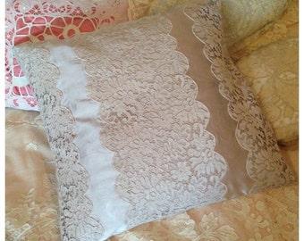 Gorgeous vintage lace and sateen mauve grey boudoir pillow cushion~ beautiful colour
