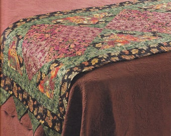 Handmade Autumn Leaves Bed Runner Quilt, machine free motion quilted