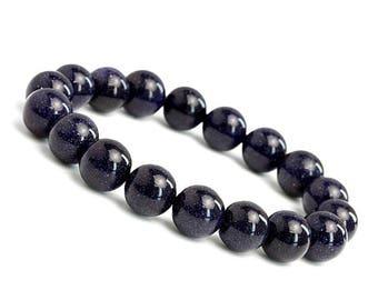 Blue Goldstone Bracelet, Goldstone Bracelet, Womens Beaded Bracelet, Stretch Bracelet, Blue Stone Bracelet,Womans Goldstone Bracelet Jewelry