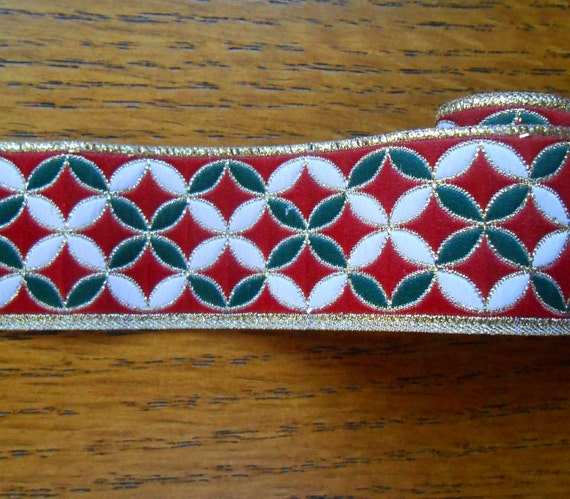 Red, Green and White Ribbon With Gold Metallic Christmas Project Trim  1 Yd. L By 2 Inches W