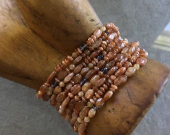 Sunstone bracelet, 9-strand bracelet, Burnt orange