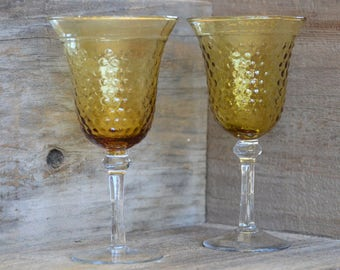 Vintage goblets, Gold and Clear Glass, Set of Two,