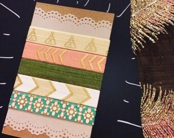 Tribal Hair Tie Pack - 5 Ties - Handmade - 30% of sales donated!