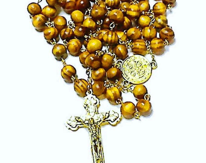 Holy Land Olive Wood Bead Rosary // Catholic Heirloom // Unique Gold St Benedict Medium Crucifix Cross Pendant // Spiritual Jewelry Mom Teen