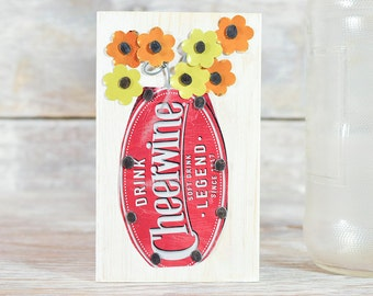 Cheerwine Mini Soda Can Art Vase with Yellow and Orange Flowers