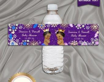 Printable Baby Shower Water Bottle Labels, Gender Reveal Baby Shower, Royal Blue, Pink, Digital File, EDITABLE text, Microsoft® Word Format