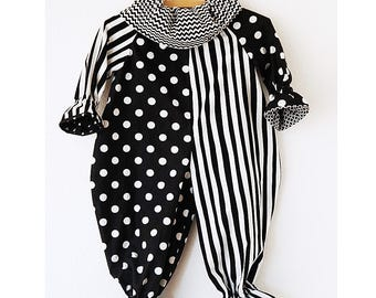 Ready to Ship: Toddler 2T/3T Clown Costume in Black and White, Stripes and Dots