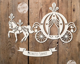 Princess Carriage SVG PDF - Papercutting Vinyl Template - Commercialpaper cut template - princess papercut - baby shower svg