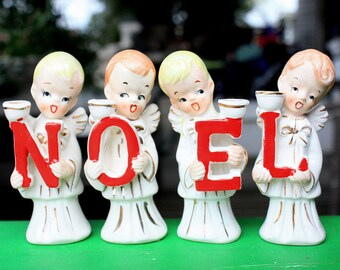 MINT With Box Vintage Christmas Noel Choir Boys Kids Candle Holders  1950s Japan Figurines Decorations Collectibles