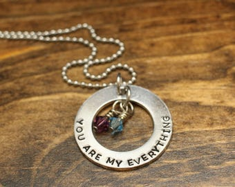 Mommy Necklace - You Are My Everything - Necklace for Mom - Gift for Her - Mother's Day Gift - Mom Jewelry - Birthstones  - Ready to Ship